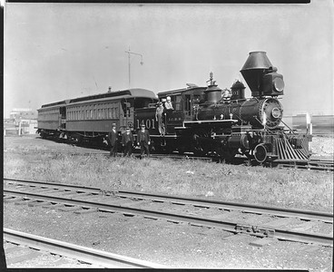 2010.030.PC20.029--lee hastman collection 8x10 print--ICRR--Co Photo view of steam locomotive 2-4-4T 1401 with passenger cars and crew--Chicago IL--no date