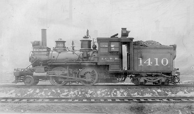 2010.030.PC20.032--lee hastman collection 8x10 print--ICRR--Co Photo view of steam locomotive 2-4-4T 1410--Chicago IL--no date