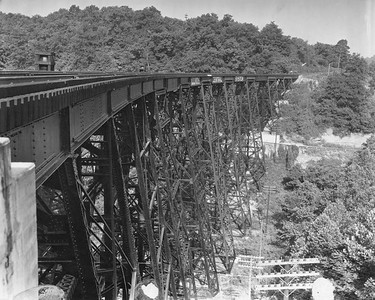 2010.030.PC26.08--lee hastman collection 8x10 print--ICRR--Co Photo view of bridge at Fletchers Hollow--location unknown--no date