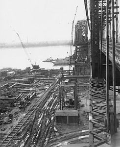 2010.030.PC26.11--lee hastman collection 8x10 print--ICRR--Co Photo view of bridge construction--location unknown--1951 1204