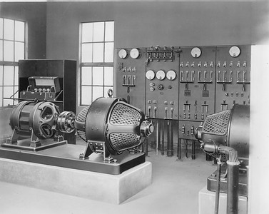 2010.030.PC23.15--lee hastman collection 8x10 print--ICRR--new GRS humpyard retarder system-motor-generator and switchboard--East St Louis IL--1926 0315