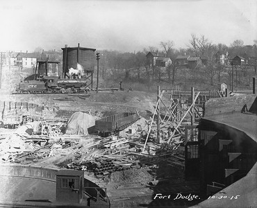 2010.030.PC13.18--lee hastman collection 8x10 print--ICRR--Company Photograph view of roundhouse under construction--Fort Dodge IA--1915 1030
