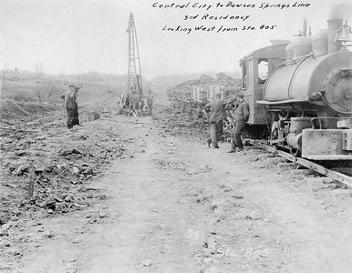 2010.030.PC17.02A--lee hastman collection 8x10 print--ICRR--Co Photo view of contractor steam locomotive and grade construction on Dawson cutoff--near Dawson Springs KY--1923 1121