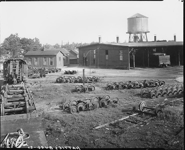 2010.030.PC16.10A--lee hastman collection 8x10 print--ICRR--Co Photo view of roundhouse scene--Hattiesburg MS--1925 0000
