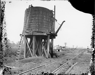 2010.030.PC16.02B--lee hastman collection 8x10 print--ICRR--Co Photo view of water tank--Clayton MS--no date