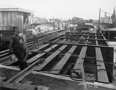 2010.030.PC16.17A--lee hastman collection 8x10 print--ICRR--Co Photo view of roundhouse under construction--Jackson MS--1926 0722