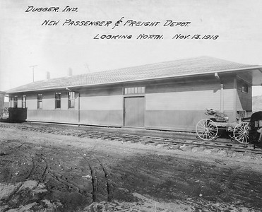 2010.030.PC19.06--lee hastman collection 8x10 print--ICRR--Co Photo view of new depot--Dugger IN--1918 1113