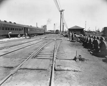 2010.030.PC15.10--lee hastman collection 8x10 print--ICRR--Co Photo view looking north of coach yard--Memphis TN--1944 0518