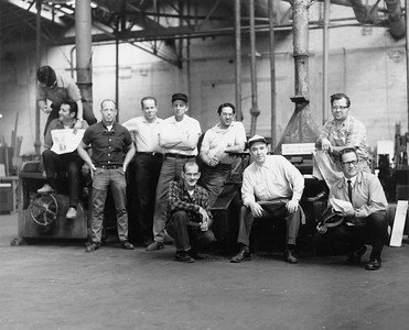 "2010.030.PC30.18--lee hastman collection 8x10 print--ICRR--Co Photo view of cabinet shop woodmill gang at Burnside shops--Chicago (Burnside) IL--1969 1000. Left to right: Tony, Gregory, George, Louie, Glenn Nelson, Eddie Perchinski, Bill Henrikson, unidentified, Wally, Art ""Red"" Hoffman."