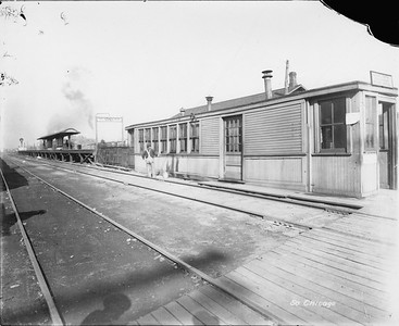 2010.030.PC09.23--lee hastman collection 8x10 print--ICRR--Co Photo view at 75th Street looking northwest down streetcar tracks--Chicago IL--no date