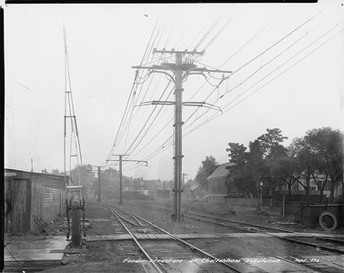 2010.030.PC09.26--lee hastman collection 8x10 print--ICRR--Co Photo view of overhead wire at Cheltenham--Chicago IL--1926 0900