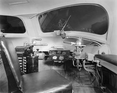 2010.030.PC29.01--lee hastman collection 8x10 print--ICRR--Co Photo view of control cab interior of Green Diamond passenger train--location unknown--1936 0000