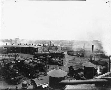 2010.030.PC99.19--lee hastman collection 8x10 print--ICRR--Co Photo view of roundhouse and turntable scene--location unknown--no date