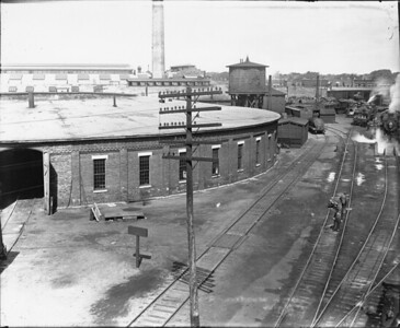 2010.030.PC99.21--lee hastman collection 8x10 print--ICRR--Co Photo view of roundhouse and turntable--location unknown--no date