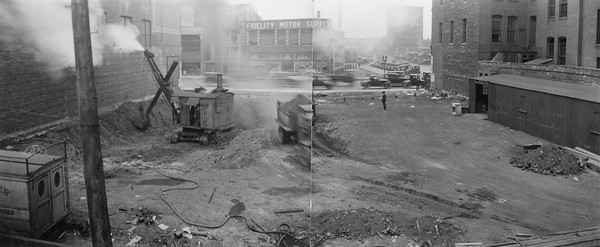 2010.030.PC99.30--lee hastman collection 8x10 print--ICRR--Co Photo view of construction scene--location unknown--no date