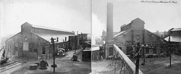 2010.030.PC99.28--lee hastman collection 8x10 print--ICRR--Co Photo view of machine and blacksmith shops scene--location unknown--no date