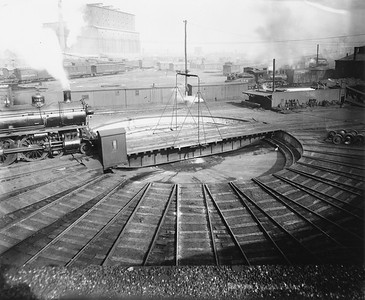 2010.030.PC99.37--lee hastman collection 8x10 print--ICRR--Co Photo view of roundhouse and turntable--location unknown--no date