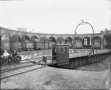 2010.030.PC99.17--lee hastman collection 8x10 print--ICRR--Co Photo view of roundhouse and turntable--location unknown--no date
