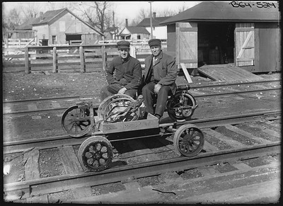 2010.030.PC25.03--lee hastman collection 8x10 print--ICRR--Co Photo view of old track speeder--location unknown--no date