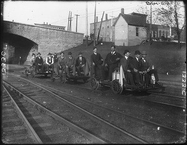 2010.030.PC25.04--lee hastman collection 8x10 print--ICRR--Co Photo view of old track speeders--location unknown--no date