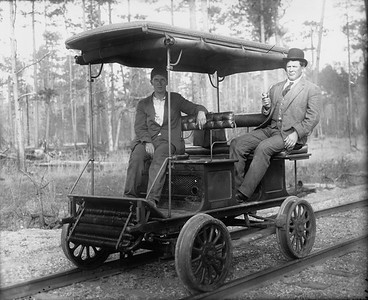 2010.030.PC25.08--lee hastman collection 8x10 print--ICRR--Co Photo view of old track speeder--location unknown--no date