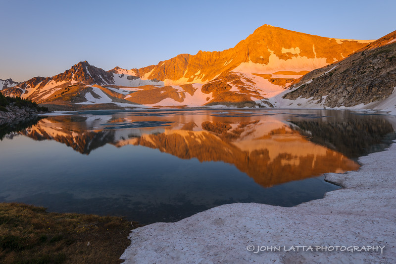 Sunrise on D.O. Lee Peak Reflected in Cirque Lake
