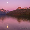 Redfish Lake, Moonset at Dawn
