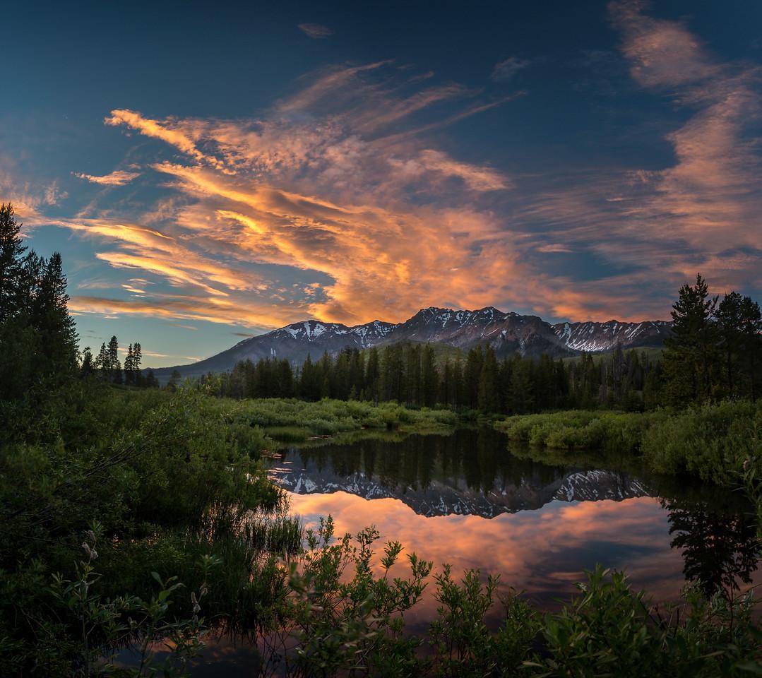 Solstice Sunset Reflection, Boulder Mountains