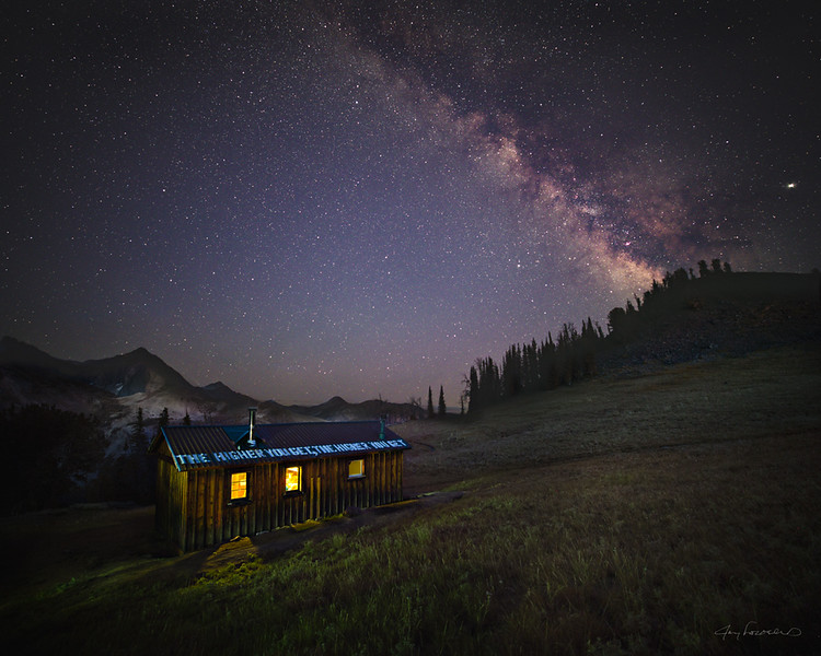 Pioneer cabin and the Milky Way