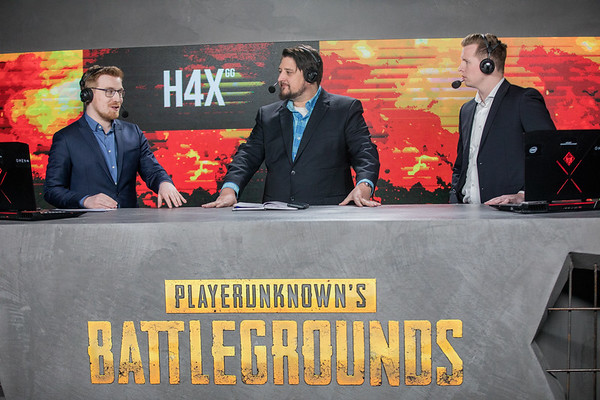 The analyst desk of the 2018 Intel Extreme Masters Katowice PUBG Invitational