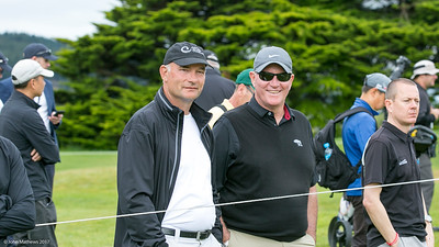 John Rollins and Ian Waddell watching the action on the par four 5th hole on the final day of the Asia-Pacific Amateur Championship tournament 2017 held at Royal Wellington Golf Club, in Heretaunga, Upper Hutt, New Zealand from 26 - 29 October 2017. Copyright John Mathews 2017.   www.megasportmedia.co.nz