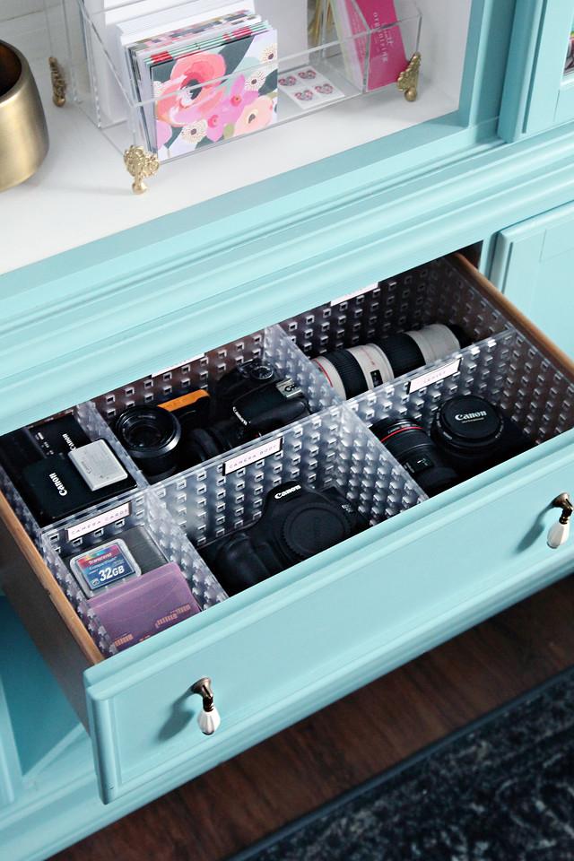 Organized Camera Gear Drawer Storage