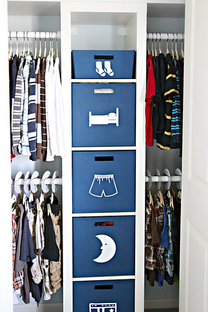 Boy's Shared Closet Organization