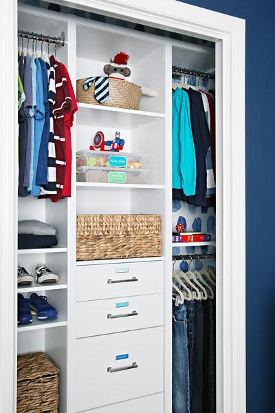 Organized Boy's Bedroom Closet