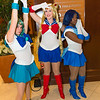 Sailor Neptune, Sailor Moon, and Sailor Mercury