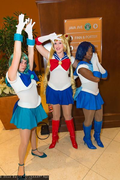 Sailor Neptune, Sailor Moon, and Sailor Mercury