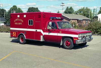 CORTLAND FPD  RESCUE 51  1982-1977 CHEVY - HORTON  X-SYCAMORE FD