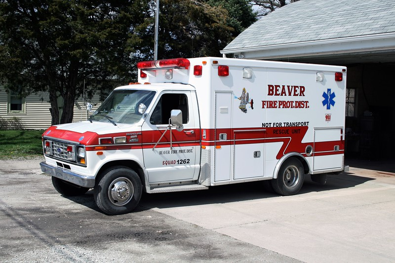 BEAVER FPD  RESCUE 1262  1987  FORD E350 - ROAD RESCUE   # 1083      X- BOURBONAIS FPD