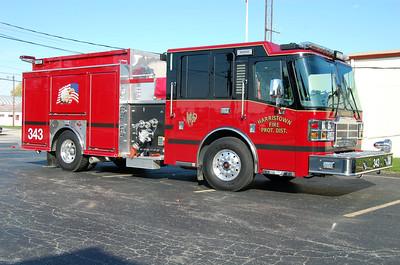 HARRISTOWN ENGINE 343  2014 FERRARA CINDER  1250-1000  OFFICER SIDE  BILL FRICKER PHOTO