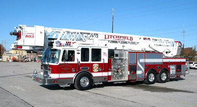 Litchfield FD Ladder 803  KME 102 ft   JOHN FIJAL PHOTO