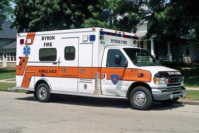 BYRON FPD  AMBULANCE 1-F-11  2001  FORD E350 - MEDTEC  ORANGE STRIPE
