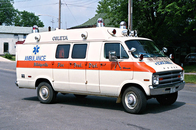 COLETA FIRE DISTRICT  AMBULANCE  DODGE  WHITE ORANGE STRIPES