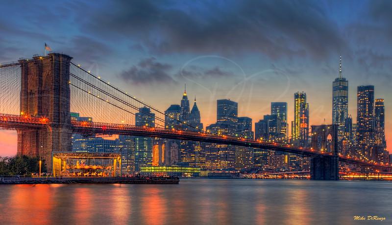 The Brooklyn Bridge at Dusk 4088 w51