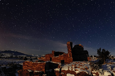"""THE NIGHT, IN RUINS"" (Wupatki National Monument, AZ) -  You really have to view this large to appreciate it Lomaki Pueblo backed by the San Francisco Peaks, under a starry Southwest sky."