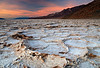 """SUNSET HELL"" (Badwater Basin, Death Valley, CA) - Geometric patterns in the salt formations at Badwater Basin, the lowest place in the western hemisphere."