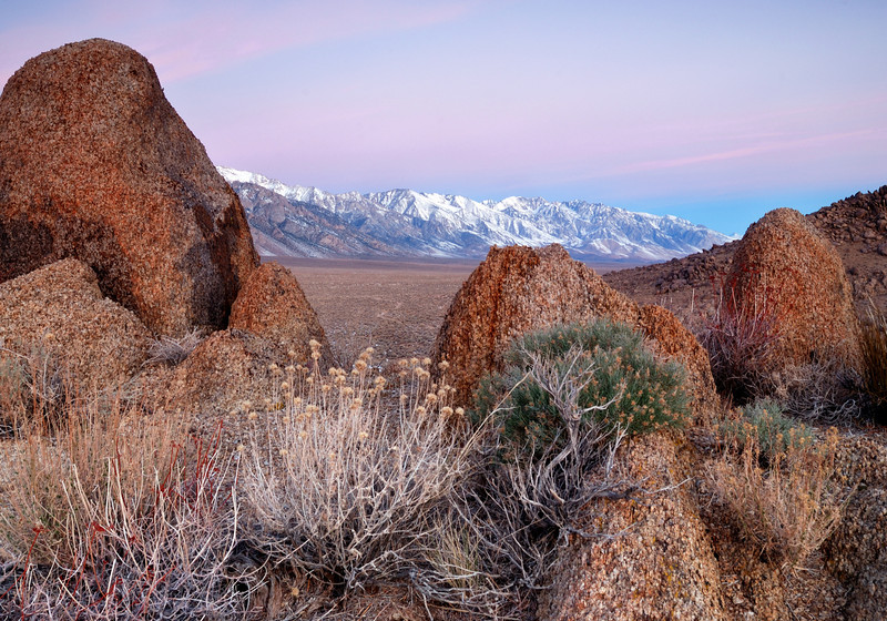 """SIERRA GLOW (Alabama Hills, CA) - Looking north up the Sierra-Nevada Mountains at sunrise in the Alabama Hills."