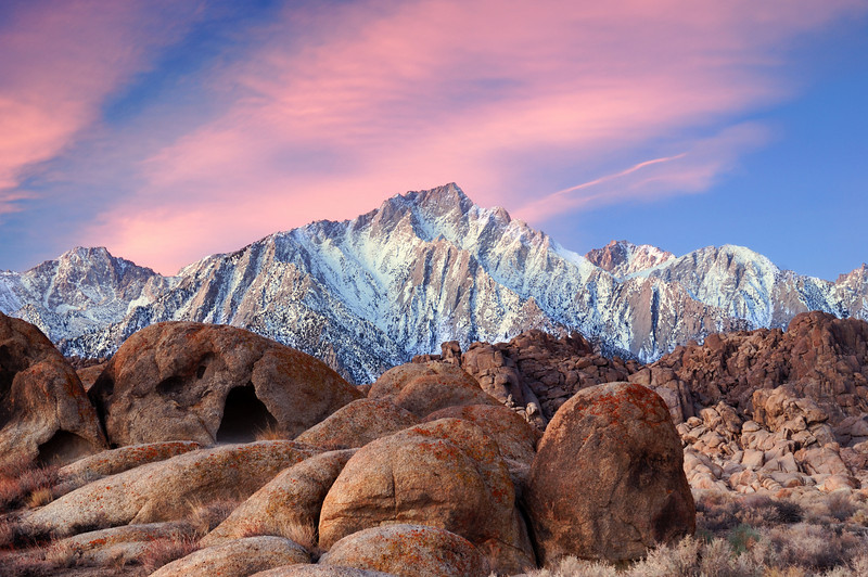 """SIERRA SUNRISE"" (Alabama Hills, CA) - Glowing skies over the Alabama Hills with Lone Pine Peak and the Sierras in the Background."