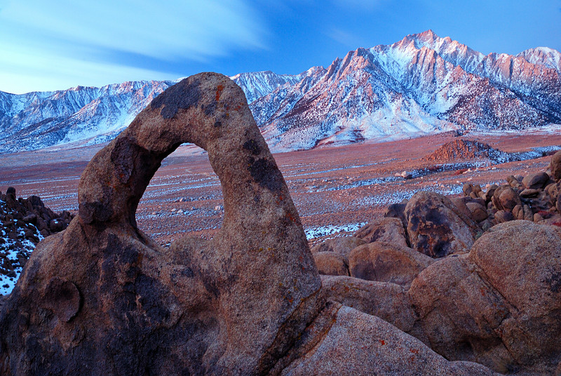 """PORTAL TO THE PEAKS"" (Alabama Hills, CA) - Whitney Portal Arch with Lone Pine Peak in the background."