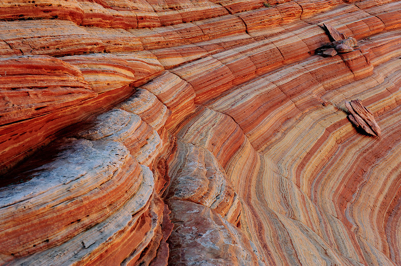 """LINES OF TIME (South Coyote Buttes, AZ"" - More of an abstract than I usually would shoot, this section of sandstone in South Coyote Buttes really caught my eye."