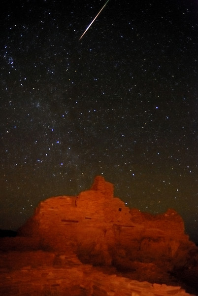 """ANCIENT LIGHTSHOW"" (Wupatki Pueblo, AZ) - A meteor streaks across the starlit sky during the Leonid Meteor Shower. The ruins at Wupatki are about 1000 years old."